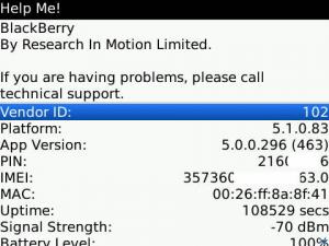 Blackberry hidden Menu Help